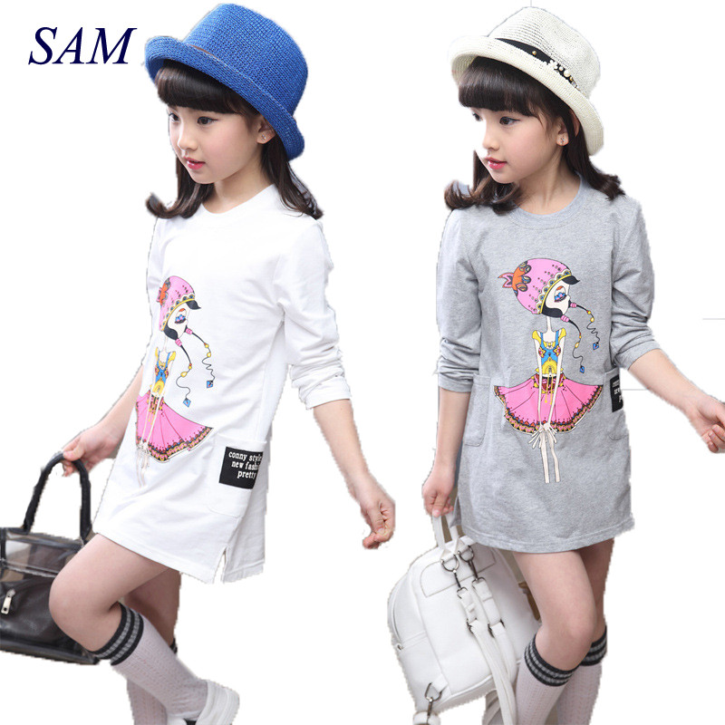 Girls Dresses Teenage Autumn Party Dress For Girls 2018 Winter Long Sleeve Cartoon Kids Dress For Girls 6 8 10 12 Years kids dress autumn girls princess dresses korean teenage baby girls dress cotton long sleeve bow children costume 6 8 10 12 years