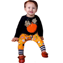 Baby Boy Clothing Set New Born Baby Boy Clothes Pumpkin Newborn Clothes Set Autumn Winter Halloween Baby Clothing Infant Outfit cheap Sets European and American Style COTTON Broadcloth Baby Boys Full Print O-Neck Pullover REGULAR YYL2018070702 Coat Fits true to size take your normal size