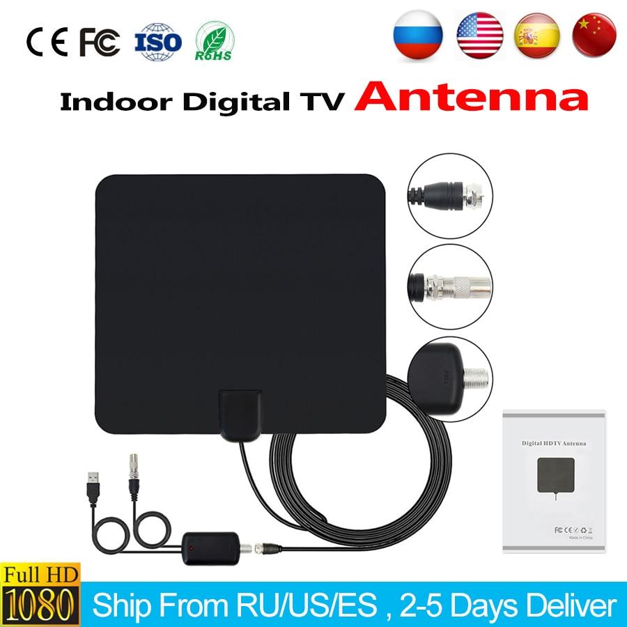 HD Digital TV Antenna Indoor HDTV Antenna +50 Miles Range Amplifier HDTV Signal Booster Upgraded Version for DVB-T/DVB-T2 Russia