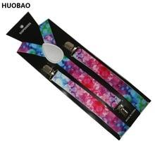 Free Shipping 2017 Women/Mens 2.5cm Wide Clip-on Color Dot Braces Elastic Y-back Suspenders стоимость