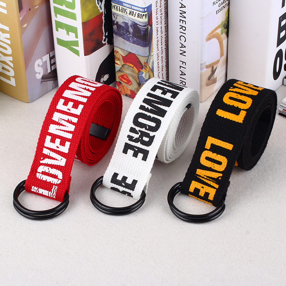 Gifts Letter Printed Fashion Waist Belt D Ring Double Buckle Casual All Matching Canvas Jeans Cool Women Men Students Durable