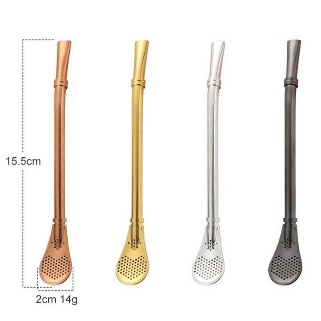 Stainless Steel Drinking Spoons Straw