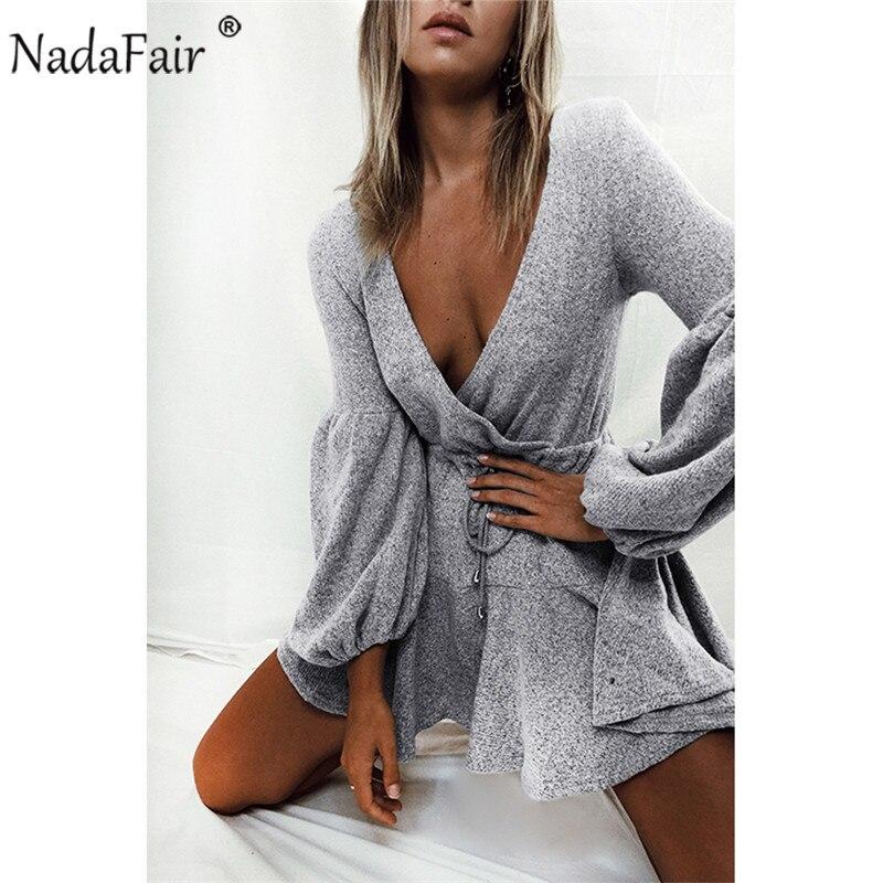Nadafair puff largo manga de punto Otoño Invierno vestidos de las mujeres con cuello en v profundo casual cintura elástica de suéter sexy mini vestido