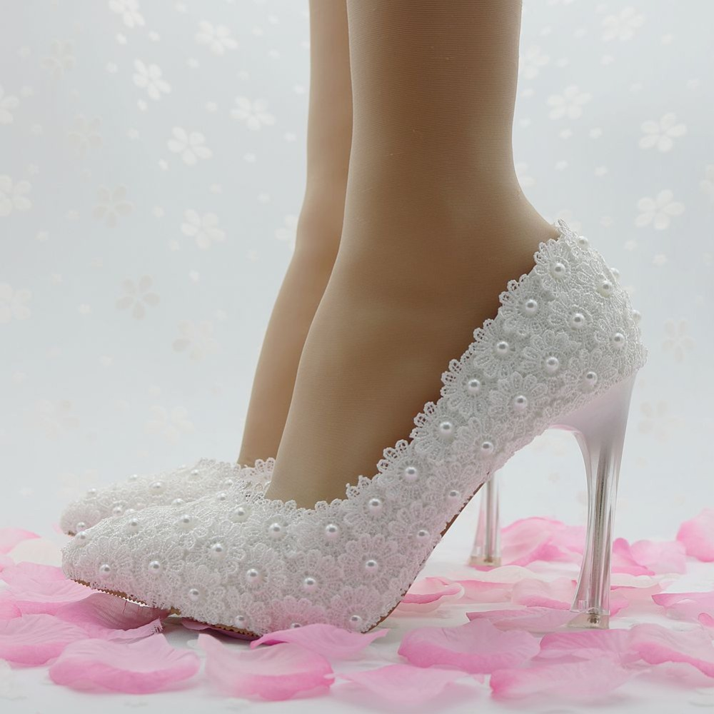 1111 New Platform Beautiful Pearl Lace White Wedding Shoes Women Pumps Party Dance Sexy High-Heeled Shoes 8/10/12/14 cm