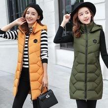 Autumn Winter Vest Women Waistcoat woman Sleeveless Jacket Hooded Warm Long Coat Colete Feminino
