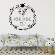 Wall Decoration Ethnic Room Sticker Feathers Poster inspire Style Bedroom Vinyl Art Removeable Mural Quotes LY304