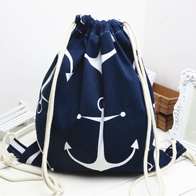 YILE Cotton Linen Drawstring Travel Backpack Student Book Shoes Bag Print Anchor Blue B02
