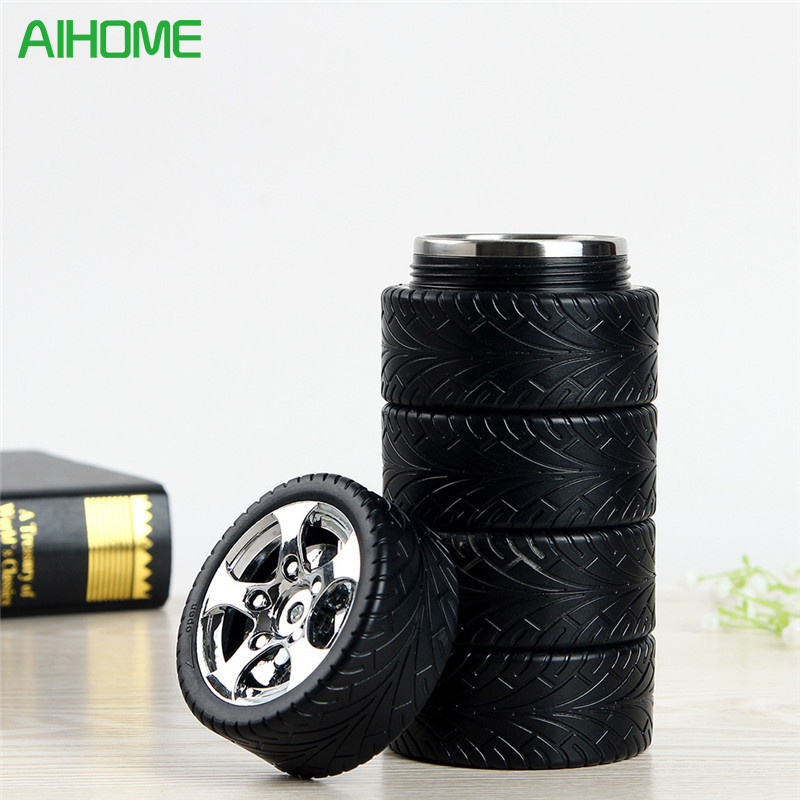 2017 Stainless Steel Tire Style Thermos Water Bottle Coffee Mug Creative Travel Insulation Cup For Car
