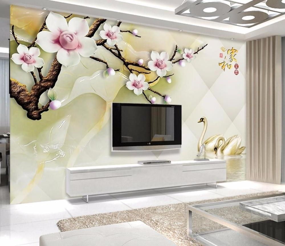 desktop living 3d decoration plum custom tv wall wallpapers murals blossom