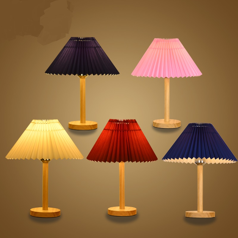 Simple modern Table Lamps Nordic wood bedroom bedside lamp dimming warm light wooden logs creative small desk lamp LU719141 indoor brief solid oak wood textile desk lamp fabrics lampshade table light bedroom bedside warm lampara night light luminaria