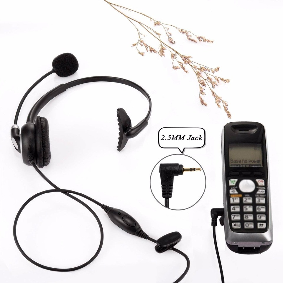 Wantek Arama Mic Headphones Wired Telephone Headset For Panasonic Cordless Phones With 2 5mm Jack Plus Many Other Dect Phones Headphone Headset Aliexpress