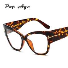 Pop Age High quality Oversized Cat Eye glasses Women Brand Designer Eyeglasses Frame Gradient Luxury Clear Lens Lunettes