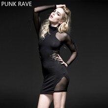 PUNK RAVE Women Novelty Halloween Christmas High Collar Mesh Long Sleeve Dress