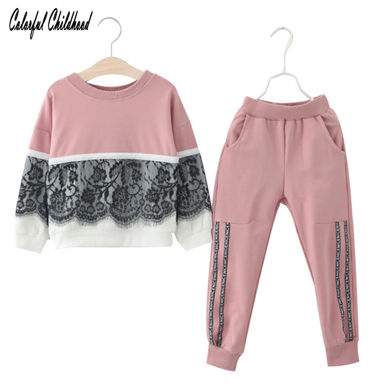 Sweet girls clothing set Casual Baby Outfits Autumn Winter lace tops+pants 2pcs set Toddler Kids Baby girls Sets 2-7Yrs