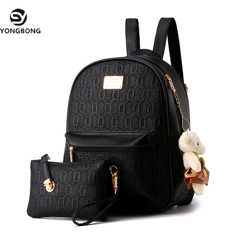 Yongbong 2 Sets Printing Pretty Style Backpack Girl School Student Backpacks Leather Mochila Escolar Bag Fashion Black Rucksack
