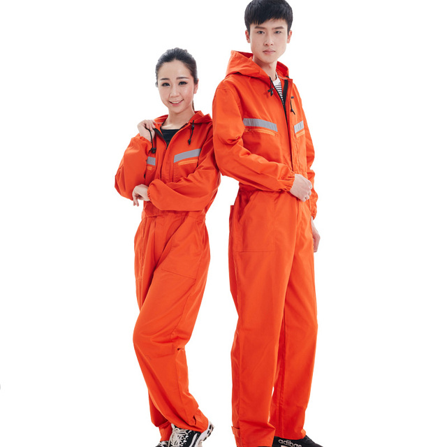 Men Women Work Clothing Hooded Overalls Long Sleeve Reflective Stripe Coveralls Auto Repair Anti dust Worker Uniforms Plus size