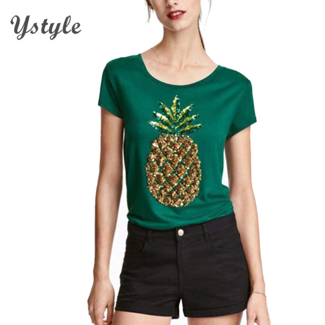 Women's Fashion Sequined 3D Pineapple T Shirt Summer Ladies Casual Short Sleeve Tops Tees Green Slim T-Shirts US M SH216