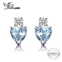 JewelryPalace Heart Love 1ct Natural Aquamarine White Topaz Post Stud Earrings For Women 925 Sterling Silver