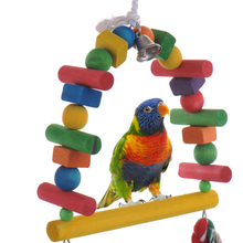 Bird toy Parrot Parakeet Cockatiel Cage Hammock Swing Toys Hanging Toy Wooden cotton rope bite stand parrot cage accessories