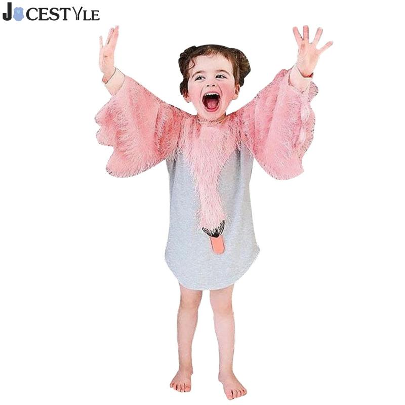 Spring Girls Dresses Baby Kids Cotton Long Sleeve Splicing Cartoon Swan Tassel Dress Clothes For Girls Christmas Gift