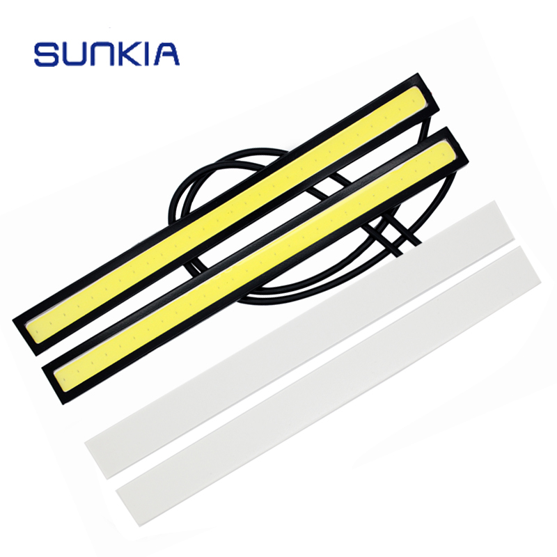 SUNKIA 17CM COB DRL LED Daytime Running Light Auto Lamp External Lights For Universal Car 100% Waterproof Day Light 2018 teenage girls summer casual dress girls cotton dresses kids letter printed beach dress girls slim dresses vestidos cc804
