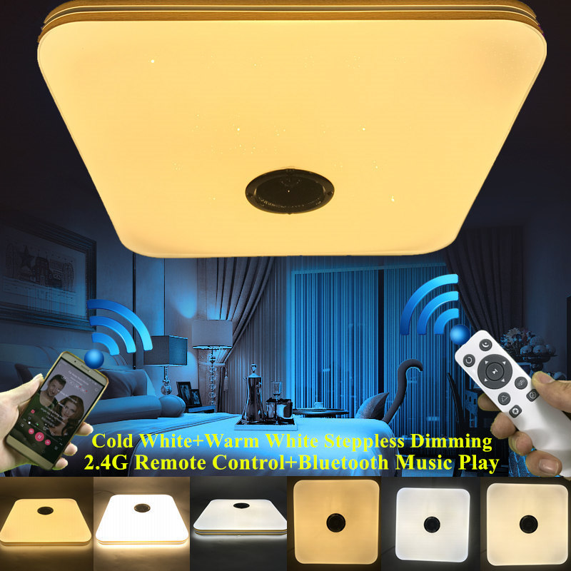 Modern 2.4G RF Remote Control Eye Protection LED Ceiling Lamp with Bluetooth Music Player For Foyer Livingroom Light Fixture