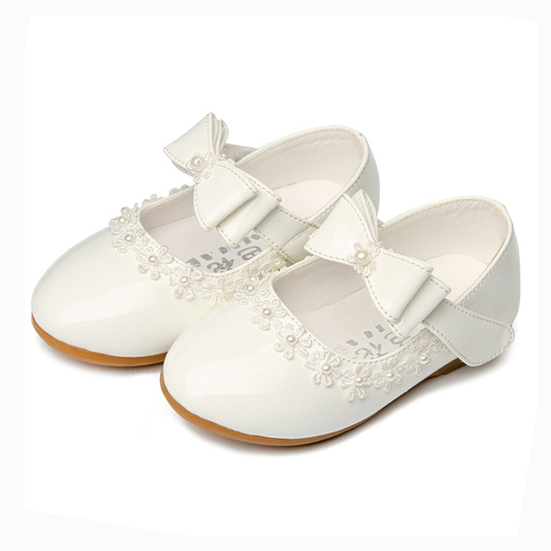 Princess-Shoes Flower Girls School Patent Wedding-Party White Children Red for Pearl