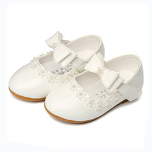 Flower Children Girls White Red Patent Leather Princess Shoes For Little Girls