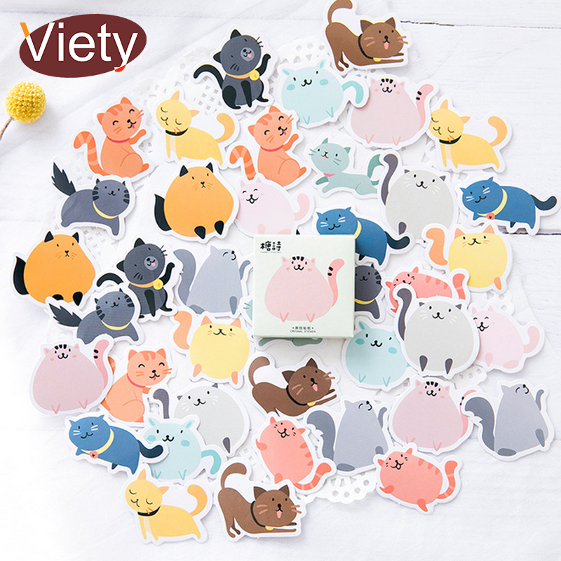 цена 45 pcs/lot Cute animal fat cat mini paper sticker decoration DIY for ablum diary scrapbooking label sticker kawaii stationery