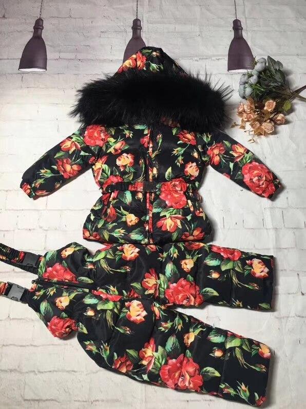 Reale pelliccia di procione 2018 rivestimento di inverno del bambino del rivestimento del vestito + pant twinset boy & girl tute da sci per bambini down jacket della tuta sportiva parka