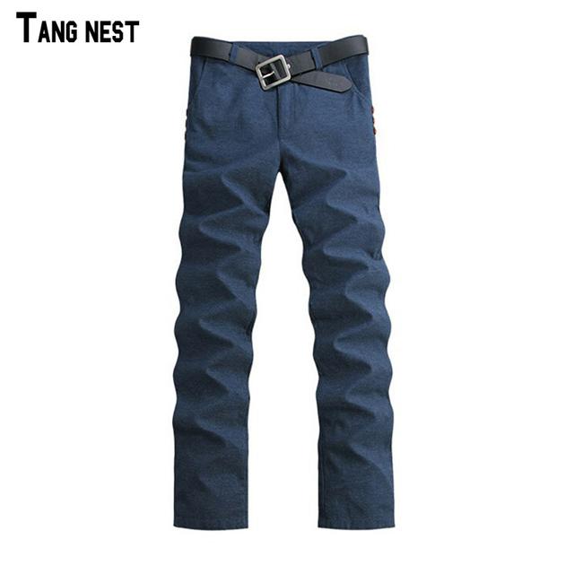 Tangnest 2017 chegada nova moda masculina calças retas de linho sólida masculino casual slim fit plus size 3 cores calças mkx512