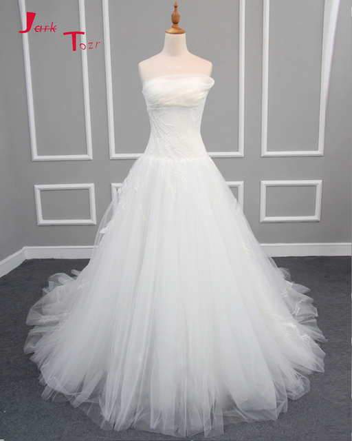 Jark Tozr Newest Pleat Strapless Lace Tulle A line Wedding Dresses ...