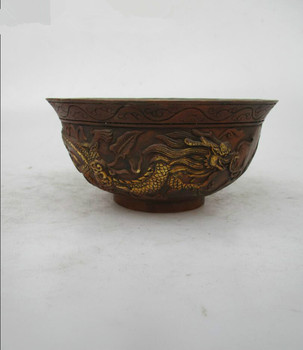 Asian Antique Old Copper Gilt Style Hand Carved Dragon Bowl Statue/Rare Chinese Qing/Ming Dynasty Bowl