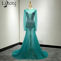 See Through Womens Prom Dress Beaded Turquoise Teal Special Design Custom Made Party Maxi Gowns Sexy