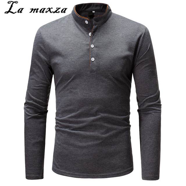 Autumn Long Sleeve Business Casual Male Polo Shirt Solid Color Slim Fashion Plus Size White Shirts 3xl