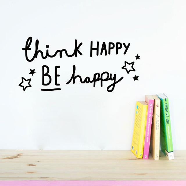 Think Happy Be Happy Home Decorations Wall Sticker Decal Mural Diy