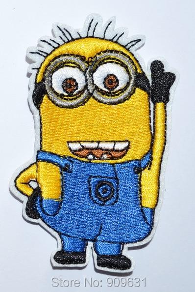 MINION Amarillo Azul Blanco Hierro en apliques bordados