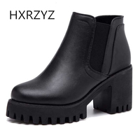 HXRZYZ Women Ankle Boots Black Genuine Leather High Heel Boots Female Spring Autumn New Fashion Thick