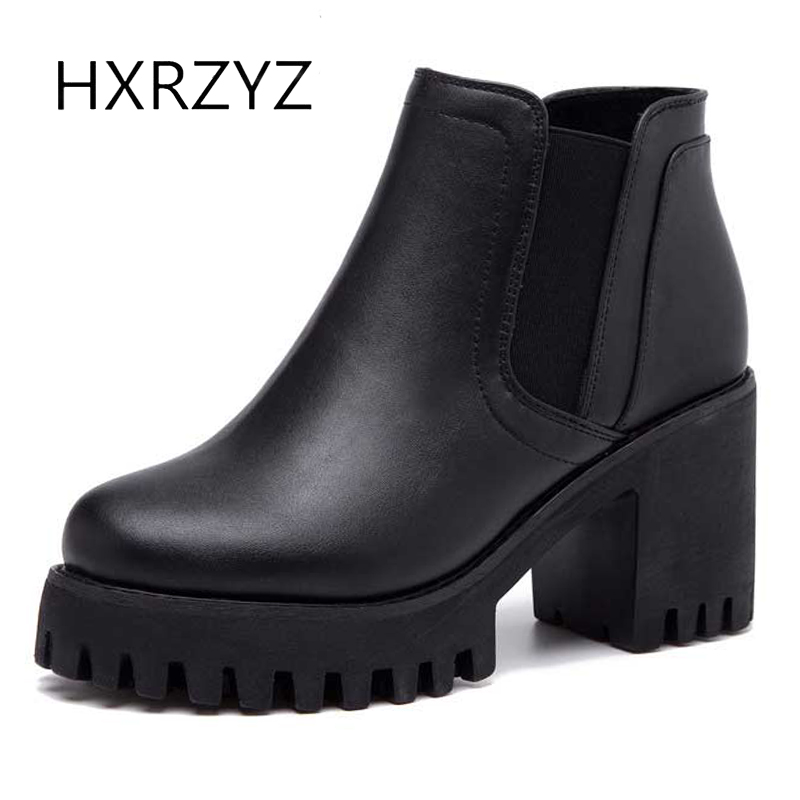 HXRZYZ women ankle boots black genuine leather high heel boots female spring/autumn new fashion thick bottoms women winter shoes 2018 spring autumn new genuine leather ankle boots nice spring hollow mesh boots women shoes female fashion zipper summer shoes