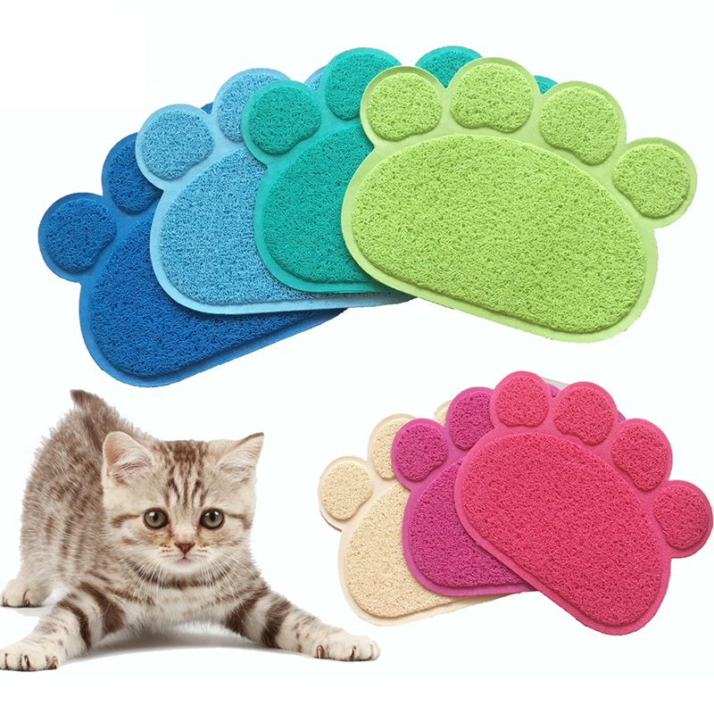 Dog Feeding Mat Cute Paw Pet Cat Feeding Pad Pet Dish Bowl Food Feed Placemat Bed Blanket Table Mat Easy Wipe Cleaning 26x45cm Pet Products Home & Garden