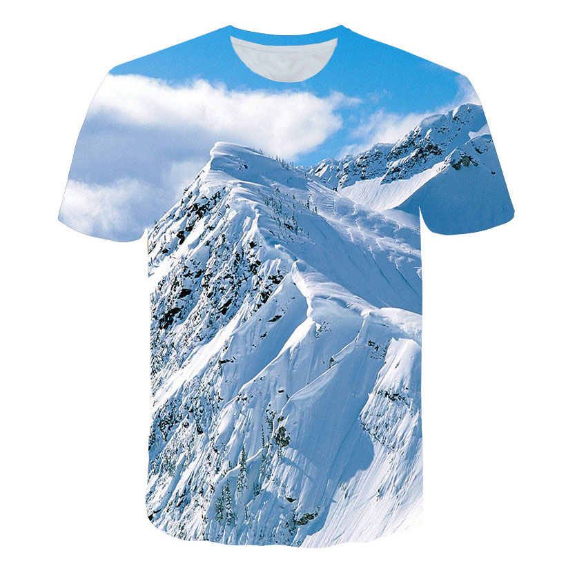 Picturesque 2019 Male Landscape Scenery T Shirt Men/Women 3d Print Snow Mountain Tshirt T-shirt Unisex Casual Summer Tees Tops