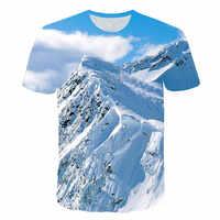 Pintoresco paisaje masculino 2019 camiseta hombres/mujeres 3d estampado nieve montaña camiseta Unisex Casual verano Camisetas