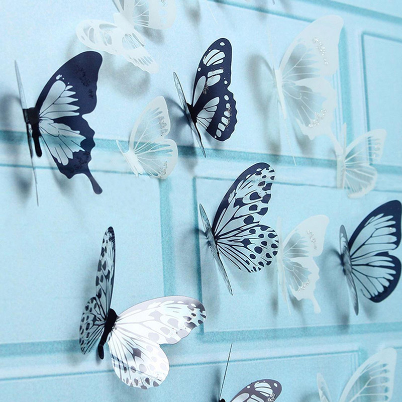 Hot 18Pcs 3D Black And White Butterfly Sticker Art Wall Decal Home Decoration Room Decor  LFD