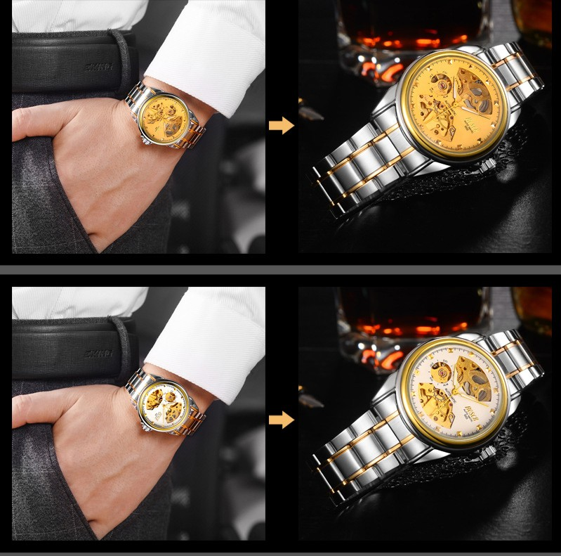 HTB1.TIUbgmH3KVjSZKzq6z2OXXaJ Men's Watches Automatic Mechanical Gold Watch Male Skeleton Dial Waterproof Stainless Steel Band Bosck Sports Watches Self Wind
