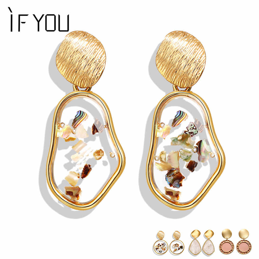 IF YOU 2019 New Fashion Shell Geometric Korean Earrings For Women Round Heart Resin Gold Color Dangle Drop Earrings Jewelry Gift