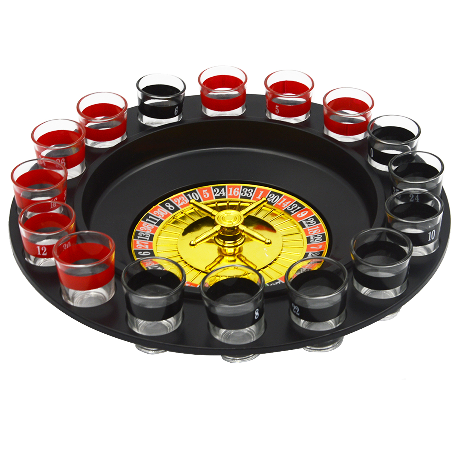 Besegad Spin Shot Glass Russian Roulette Wheel Turntable Fun Table Drinking Game Set with 2 Balls 16Glasses Novelty Drinking Set russian roulette party balloon gun model creative adult toys family interaction game lucky roulette tricky fun gifts interactive