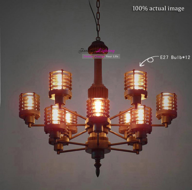 Free Shipping Modern Industrial Style Futuristic Gear Metal Edison Bulbs Mechanical Aesthetics Pendant Light Suspension Lamp
