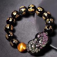 Free shipping >>NICE 14mm 100% Natural Obsidian Bead pixiu Buddha Crystal Bracelet