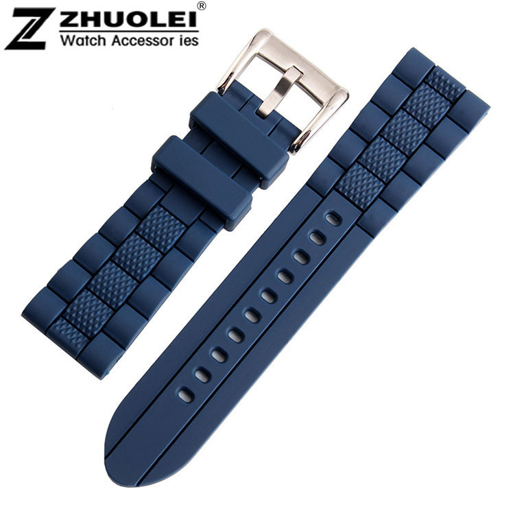 23mm (Buckle 20mm) NEW High Quality Men black Blue Waterproof watchband Diving Silicone Rubber Watch BANDS Strap Free Shipping 28mm new high quality red waterproof diving silicone rubber watch bands straps