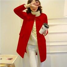 2016 Korea New Fashion Women Autumn Coat Elegant Round collar Woolen Medium long Coat Leisure Slim Wool Big yards Coat  G2323